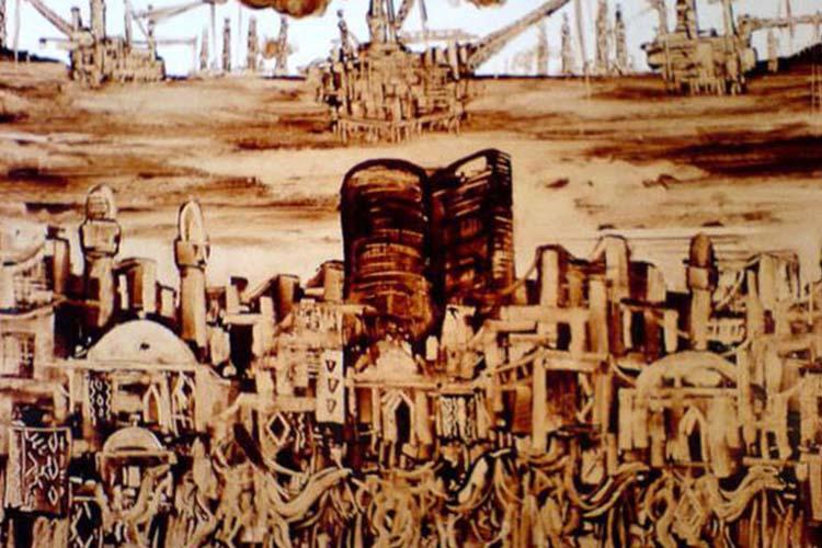 نقاشی با نفت خام سوغاتی باکو