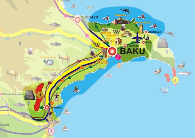 نقشه گردشگری باکو