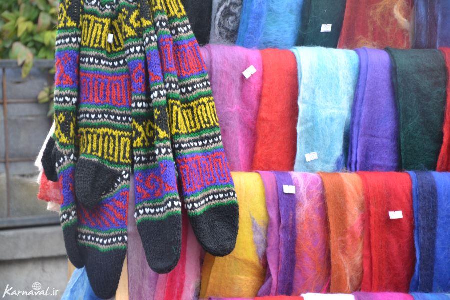 روسری پشمی و دستبافه های محلی