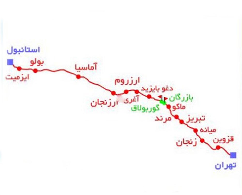 مسیر و برنامه قطار تهران استانبول