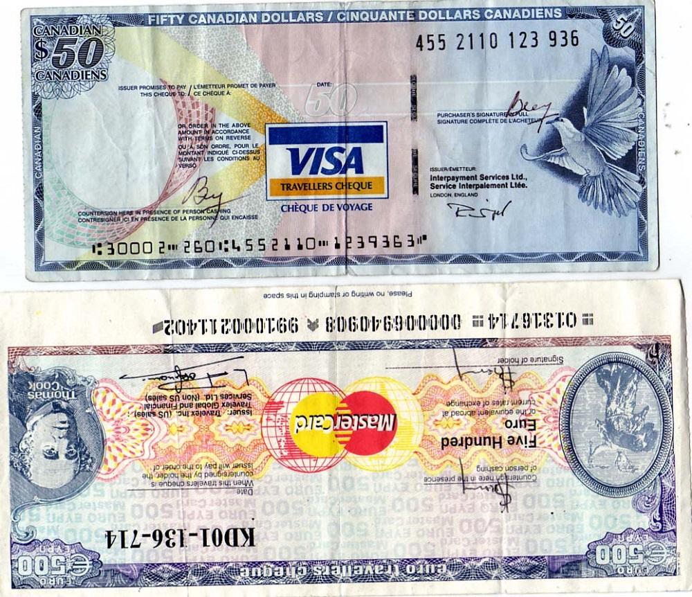 از طریق چک های مسافرتی