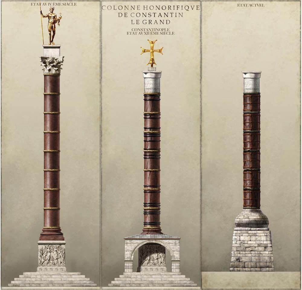 مجسمه آپولو در بالای این ستون